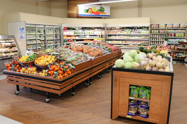 Fresh Produce display of fruit and vegetables